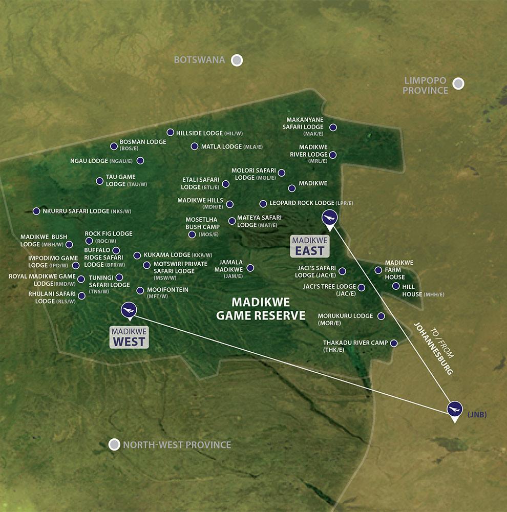 flights map Madikwe Game Reserve